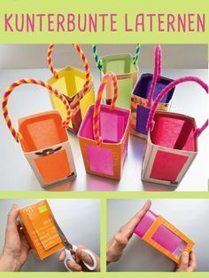 Bastelanleitung: Laternen aus Kartons bauen The Research Paper Idea But this is not the identical fo Preschool Crafts, Fun Crafts, Diy And Crafts, Crafts For Kids, Tetra Pack, Diy Paper, Paper Crafts, Lantern Craft, Useful Origami