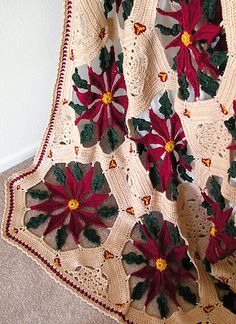 Ravelry: Antique Poinsettia Afghan (Christmas) pattern by Tracy Pokrzywa