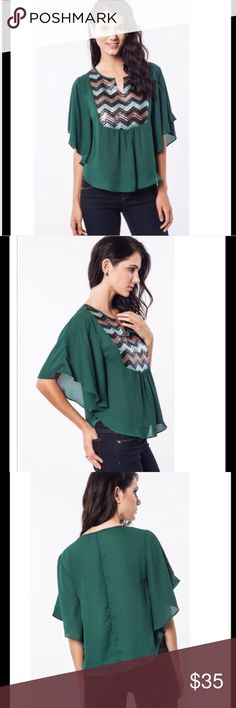 ⏳SALE TONIGHT!⏳Hunter Green Glitz and Glam Top Hunter green top with Dolman Sleeves.  Pretty sequined front. Price is firm unless bundled. Umgee Tops