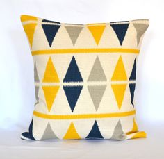 Blue navy and Yellow decorative pillow cover throw pillow 18x18 inches cushion cover. $25.00, via Etsy.