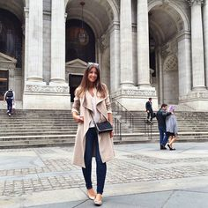 Mimi Ikonn   Beige waterfall trench, skinny jeans, flats. New York outfit