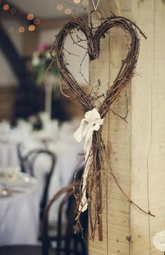 My heart is for you. Another simple decor idea for chairs or just around the room. Wandhaken Shine On Your Wedding Day With These Breath-Taking Rustic Wedding Ideas! – Page 2 of 2 – Cute DIY Projects wedding decor diy Wedding Wreaths, Wedding Flowers, Wedding Decorations, Romantic Decorations, Heart Decorations, Valentine Decorations, Decor Wedding, Wedding Venues, On Your Wedding Day