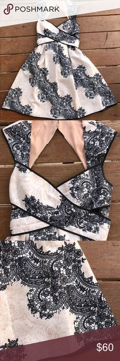 "Jessica Simpson Lace Print Sweetheart Dress Size 4 Jessica Simpson Lace Print Sweetheart Dress. Size 4. Creamy beige and black.   Measurements(approximately):  Length - 37"" Underarm to Underarm- 16"" Jessica Simpson Dresses Asymmetrical"