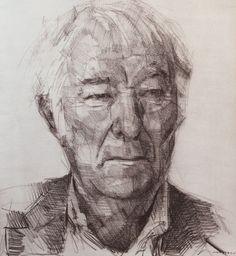 Colin Davidson............Study of Seamus Heaney  2013 crayon on paper 62 x 57 cm