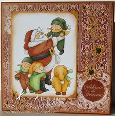 Art Impressions Ai Christmas Tots with Santa (Sku#U3611) Handmade winter card.