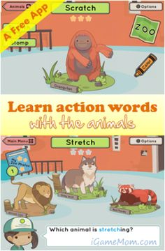 Free game from Smithsonian - kids learn Action Words with animals. Available on computer and iPAD  #kidsapps #FreeApps