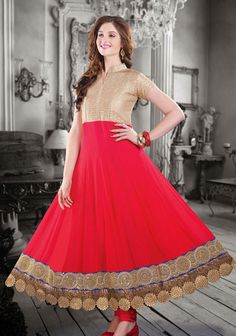 USD 187.62 Brown and Red Long Anarkali Suit   35908