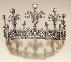 Victorian diamond tiara c1870 made of open work panels of stylized Greek key and foliate scrolls. (photo Sotheby's)