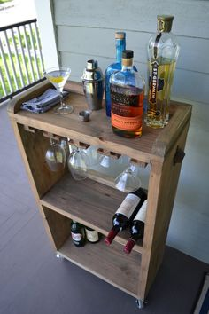 Rolling Bar Cart Wine Rack Kitchen Bar Reclaimed by decoratelier