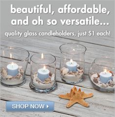 beautiful beachy candleholders from the dollar tree!