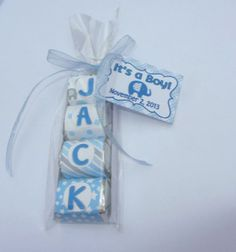 BABY SHOWER FAVOR candy name. Cute baby elephant theme wrappers in blue and gray I love this ideaa! Baby Boy Favors, Baby Shower Party Favors, Baby Shower Gifts, Baby Gifts, Recuerdos Baby Shower Niña, Cute Baby Elephant, Elephant Theme, Baby Event, Christening Cake Boy