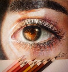 Light brown eyes, colored pencils