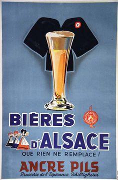 Ancre Pils Bière D'AlsaceAncre Pils Bière D'AlsaceMichel Strasbourg Imp. vers 19*30 Affiche entoilée/ Vintage Poster on Linnen T.B.E. A - 98,5 x 65#art #auction #poster #affiche #print #paper #papier