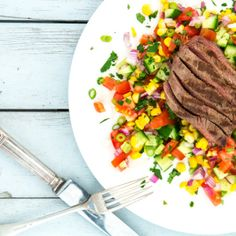 I Quit Sugar - Recipes - Mexican Salsa & Steak Salad Veggie Recipes, Lunch Recipes, Dinner Recipes, Cooking Recipes, Healthy Recipes, Veggie Meals, Mexican Salsa, Steak Salad, No Sugar Foods