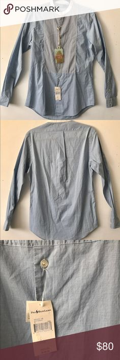 NWT Polo Ralph Lauren Savannah Chambray Top S $145 NWT Polo Ralph Lauren light blue cotton chambray collarless shirt with a striped bib. Gorgeous detail and super soft cotton! Size S. $145 retail. Polo by Ralph Lauren Tops Button Down Shirts