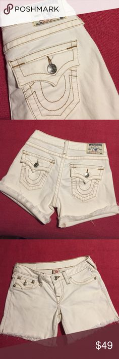 Authentic True Religion Mid Cutoff Shorts Cotton spandex blend. Size 27 fit true to size! Roll up for cuff or wear rolled down for a little longer length. Offwhite cream color with brown stitching. Bought in Houston at True Religion store...excellent condition just too short for me now. True Religion Shorts Jean Shorts