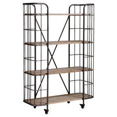 Stoer metalen bakkersrek op wieltjes met houten planken. Kleur: zwart. Afmeting: 102x39x152 cm (lxbxh). #bakkersrek #kwantumstijl