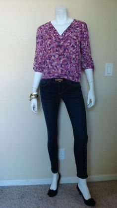 Daily Look: CAbi Fall '13 Ink Ruby Jean, Kaleidoscope Blouse and Skinny Belt with low-heeled black pumps and gold jewelry.
