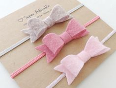 Arent these Super Adorable?  The bow measures 2.25 inches x 3/4 inches.    You will get 3 mini felt bow headbands. Colors First Picture: Light