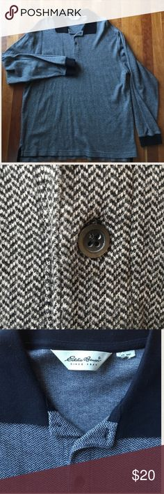 Eddie Bauer herringbone long sleeve collared shirt Great gray & black long sleeve polo shirt in herringbone pattern with solid black cuffs and collar. 3 button closure. Preloved but great condition. No rips, stains or tears. Size tag cut but fits large. Read first listing before making an offer please. NO TRADES!! 📦Ships same or next day! 💥Bundle to save! Eddie Bauer Shirts Polos