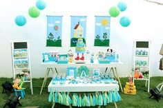 Fantastic George Pig birthday party dessert table! See more party ideas at CatchMyParty.com!