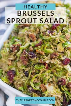 This Shredded Brussels Sprout Salad Recipe is just the best. Made with shaved brussels sprouts - this salad is vegan, paleo   Whole 30 friendly. Packed with healthy fats, it is the perfect lunch, dinner or holiday side! It's made with cranberries and pecans or you can add in bacon or almonds. Enjoy warm or raw - either way it's delicious! #healthy #salad #whole30 #vegan #paleo Easy Clean Eating Recipes, Easy Whole 30 Recipes, Clean Eating Diet, Shredded Brussel Sprout Salad, Sprouts Salad, Brussels Sprouts, Healthy Vegetable Recipes, Healthy Gluten Free Recipes, Whole30 Recipes