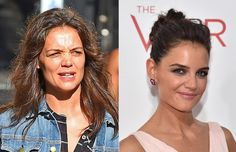 Katie Holmes: with and without make-up