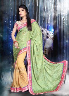 Aspiring Chiffon Satin Embroidered Work Designer Saree