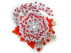Wedding accessories fabric flower hair clip Dahlia by SummerForYou