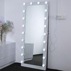 Floor Mirror With Lights, Stand Up Mirror, Diy Vanity Mirror With Lights, Floor Mirrors, Full Mirror, Girls Mirror, Mirror Vanity, Vanity Room, Bedroom With Vanity
