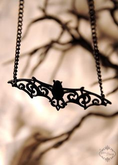 Filigree Victorian Bat necklace