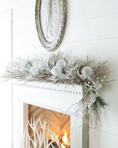 White Christmas six-foot garland with natural twigs by Horchow | archdigest.com