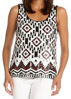 Gorgeous Sequin Tank Top! Perfect piece to pair with suits for work or  capri pants for weekend wear! #sequins #tank_top #fashion
