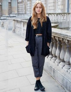 greyscale, tapered trousers, crop top