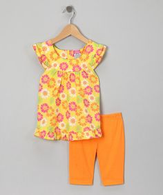 Take a look at this Orange Daisy Yoke Tunic & Shorts - Toddler by Diva on #zulily today!