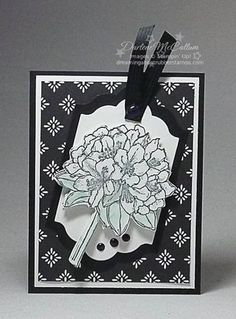 handmade card ... black and white ... line drawing of rhododendron on a layered tag ... from DreamingAboutRubberStamps.com ... Stampin' Up!