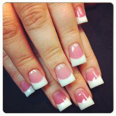 Pink n white nails