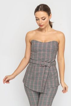 042c1350e694 Gray Check Fitted Cocktail Jumpsuit, Evening Party Off the shoulder  overall, Gray women suit slim Fit high waist trousers Tunic TAVROVSKA