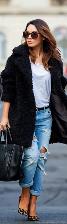 Street Style...I like the distressed jeans combined with the leopard pumps!