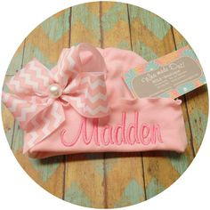 Personalized, Baby Girl, Newborn Embroidery, Beanie, Name Reveal, Baby Gift, Hat With Name, Ruffle Hat by WhomadeDatNola on Etsy