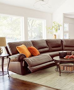 Duncan Leather Sectional Seating With Vinyl Sides U0026 Back Living Room  Furniture Collection, Power Reclining