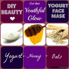 DIY: Homemade Yogurt Face Mask Recipes for Beautiful Skin Got fine lines, wrinkles or dull skin that looks years older than you are? Yogurt Honey Oats, this is your recipe for a rejuvenating face mask! Homemade Moisturizer, Face Scrub Homemade, Homemade Face Masks, Homemade Skin Care, Homemade Facials, Facemasks Homemade, Homemade Beauty, Yogurt Face Mask, Avocado Face Mask