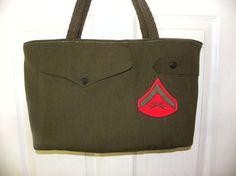 Repurposed USMC Marines uniform large tote bag by LoriesBags