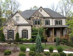 traditional two story house exterior colors - I'm not sure about the placement of the stonework, but overall I really like it. - Home Decor Pin Two Story Homes, Two Story House Plans, Stone Houses, Houses With Stone Exterior, House Exteriors, Exterior House Colors, House Goals, House Floor Plans, Stone House Plans