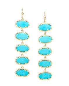 Ives Long Earrings in Turquoise - Kendra Scott Jewelry.