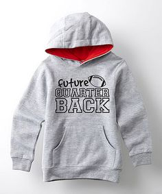 Gray & Red 'Future Quarterback' Hoodie - Toddler & Kids