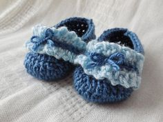 Blue Ruffle Baby Booties by HookandYarnDesigns on Etsy, $15.00