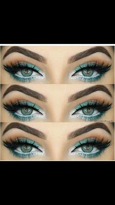 Peacock inspired eye make up. Green and white eye makeup. Glamorous wedding make up. Boho Bride make up. Wild bride make up Gorgeous Makeup, Pretty Makeup, Love Makeup, Makeup Inspo, Makeup Art, Makeup Inspiration, Amazing Makeup, Makeup Goals, Makeup Tips