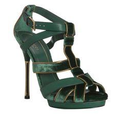 Green Piped Velvet Malika Platform Sandals