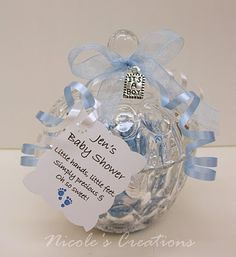 'It's a Boy' Baby Shower Favors ~ Pretty Crystal Candy Jar Filled with Baby Blue & Silver Hershey's Kisses. Decorated With Blue & White Ribbons & A Special 'It's a Boy' Metal Tag